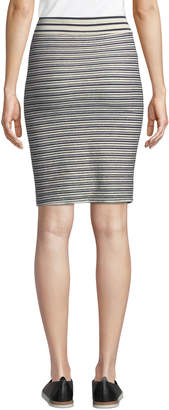 Three Dots Striped French Terry Pencil Skirt