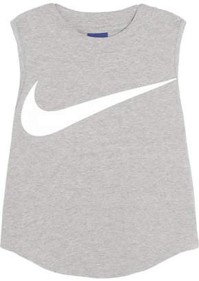 Nike Swoosh Cropped Stretch-cotton Jersey Tank - Light gray