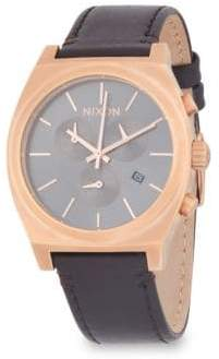 Nixon Time Teller Stainless Steel and Leather-Strap Watch