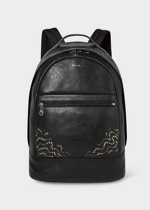 Paul Smith Men's Black Leather Backpack With 'Dreamer' Stud Detail