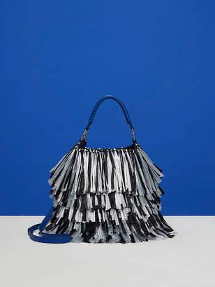 Diane von Furstenberg Large Raffia Fringe Bucket Bag