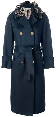 Thom Browne 3D Floral Embroidery Mackintosh Trench Coat