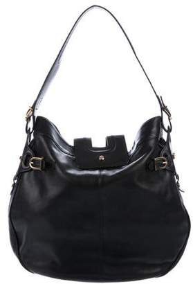 Gianni Versace Buckle-Accented Leather Hobo