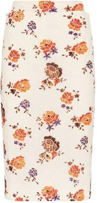 Victoria Beckham Floral Lace Pencil Skirt