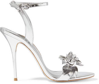 Sophia Webster - Lilico Appliquéd Metallic Leather Sandals - Silver $595 thestylecure.com