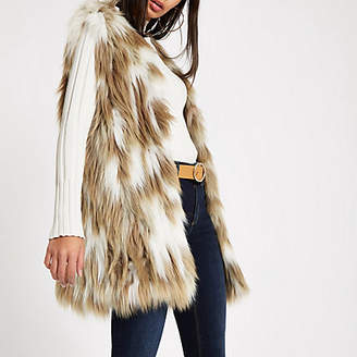 River Island Light brown knitted faux fur vest