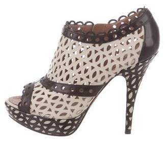 Alaia Laser Cut Peep-Toe Booties