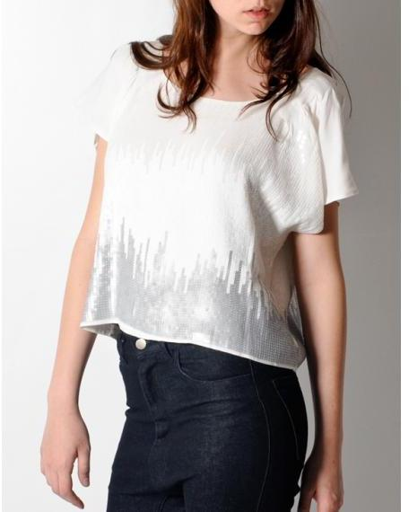 Tas White Sequin Top