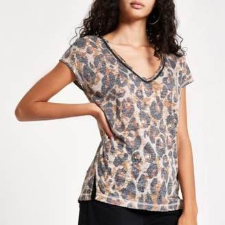 River Island Brown leopard print rhinestone trim tank top