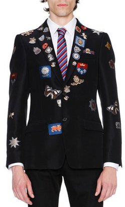 Alexander McQueen Engineered Jacquard Blazer w/Patches, Black $2,995 thestylecure.com