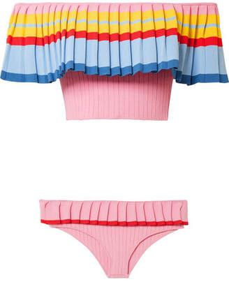 Tabula Rasa - Toque Off-the-shoulder Ribbed Stretch-knit Bikini - Baby pink