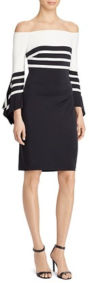 Lauren Ralph Lauren Striped Off-the-Shoulder Dress $155 thestylecure.com