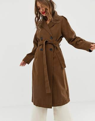 Asos Design DESIGN washed canvas trench