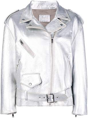 Prada metallic biker jacket