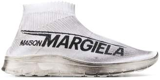 Maison Margiela dirty logo print sock sneakers