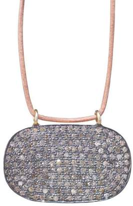 Lera Jewels Mini 18x30mm Pave Diamond Oval On Leather Necklace