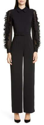 Badgley Mischka Collection Ruffle Long Sleeve Jumpsuit