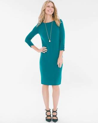 Solid Ruched-Sleeve Dress