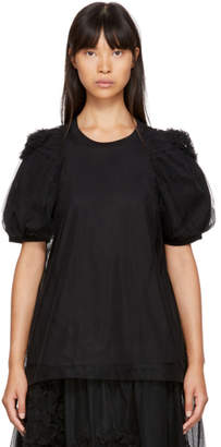 Simone Rocha Black Ruched Tulle Underlay T-Shirt