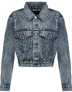 Alice + Olivia Alice+olivia Crystal-Embellished Faded Denim Jacket