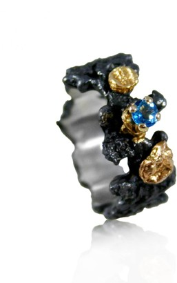 Karolina Bik Jewellery Scoria Ring With Natural Blue Topaz