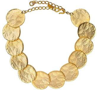 Kenneth Jay Lane Satin Gold Coin Bib Necklace