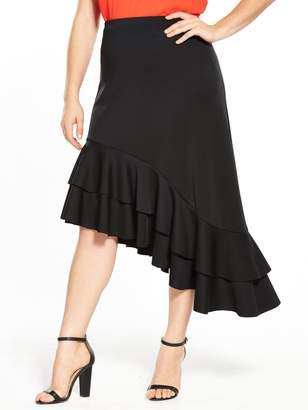 at Very V by Very Curve Asymmetric Hem Ruffle Skirt