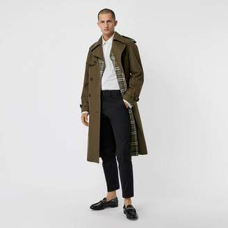 Burberry Reversible Tropical Gabardine and Check Trench Coat , Size: 44, Green