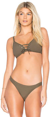 Seafolly Inka Rib Lace Up Bikini Top
