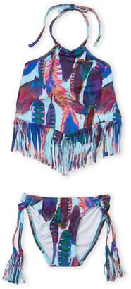 Pilyq Girls 7-16) Two-Piece Feather Print Fringed Halter Bikini