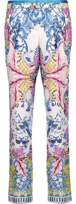 Roberto Cavalli Printed Silk-Satin Twill Tapered Pants