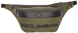 Dolce & Gabbana Khaki and Black Logo Pouch