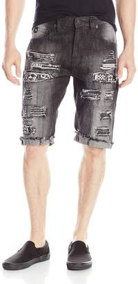 Southpole Men's Short Denim Shorts with Printed Backing and Patches