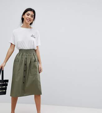 Asos DESIGN Petite cotton midi skirt with button front