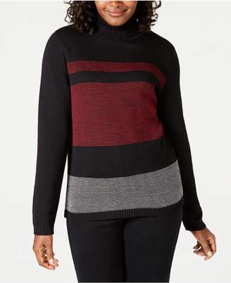 Karen Scott Petite Cotton Colorblocked Turtleneck Sweater, Created for Macy's
