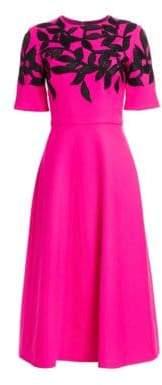 Oscar de la Renta Embellished Short-Sleeve A-Line Dress