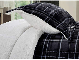 Elegant Comfort Softest, Coziest Heavy Weight Plaid Pattern Micromink Sherpa - Backing Premium Quality Down Alternative Micro - Suede 2-Piece Reversible Comforter Set, Twin/Twin Xl Bedding