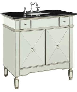 Acme Atrian Bathroom Sink Cabinet in Marble and Mirrored