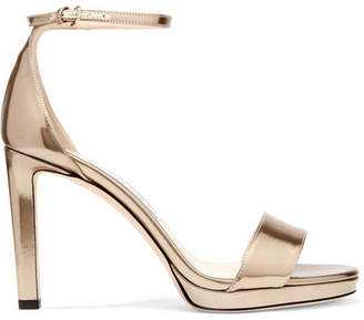 Jimmy Choo Misty 100 Metallic Leather Platform Sandals - Gold