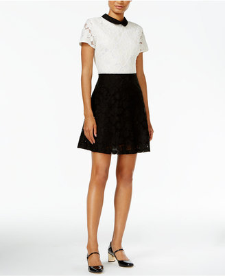 Maison Jules Lace Colorblocked Fit & Flare Dress, Only at Macy's $99.50 thestylecure.com
