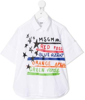 MSGM Kids logo print shortsleeved shirt