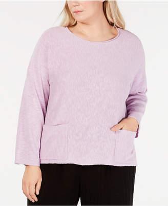 Eileen Fisher Plus Size Linen & Cotton Pocket Top