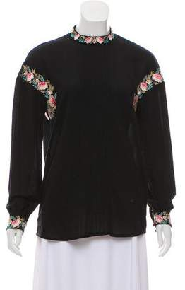 Vilshenko Embroidered Long Sleeve Top