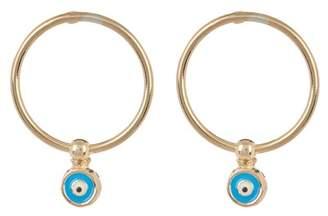 Argentovivo 18K Gold Plated Sterling Silver Round Tube Evil Eye Earrings