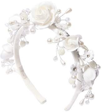 MonnaLisa Satin Band W/ Flowers & Imitation Pearls
