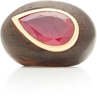 Rosa de la Cruz 18K Gold Ebony and Ruby Ring