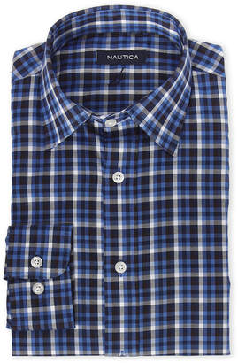 Nautica Dark Blue Plaid Shirt