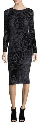 Fuzzi Long-Sleeve Velvet Tattoo Burnout Dress, Black $495 thestylecure.com