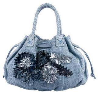 Carlos Falchi Fatto a Mano by Floral-Embellished Python Bag