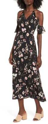 Women's Lush Floral Cold Shoulder Midi Dress $55 thestylecure.com